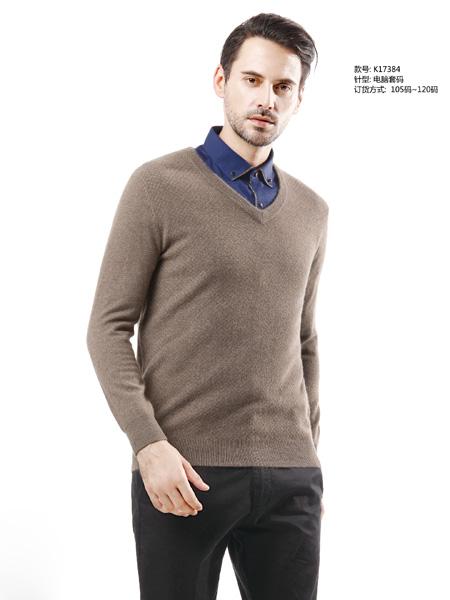 男士V领羊绒衫 款号K17384